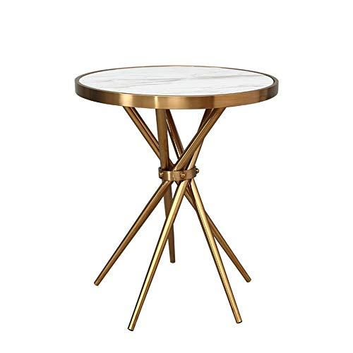 Carl Artbay Home & Selected Furniture / Marmer, rond, zijdelingse houder voor woonkamer / tafel / tafellamp, goudkleurig, luxueus, decoratie van het huis / slaapkamer / nachtkastje, 50 cm x 60 cm