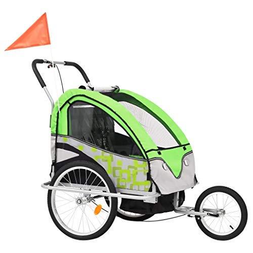 Fahrradanhänger für Kinder und Kinderwagen, faltbar, mit Sicherheitsflagge, mit Handbremse am Vorderrad, Seitenfenster, blau und grau