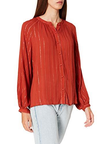 Springfield Blusa Rayas Lurex Camisa, Tostado, 38 para Mujer