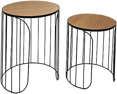 HOME DECO FACTORY HD7204 Home Deco Factory-HD7204-Table Gigogne Filaire X2 Appoint Salon, Noir-Bois, 40x50x40 cm