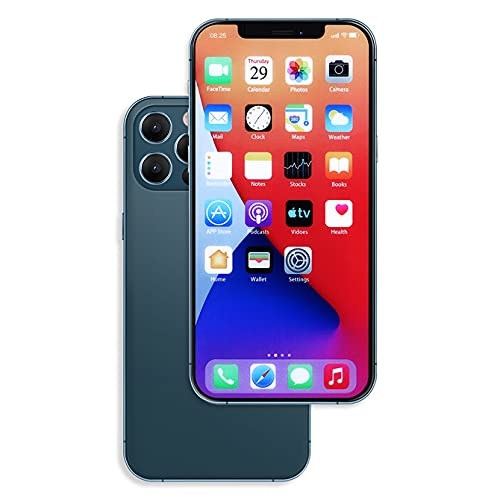 Raytonee Gefälschte Handy Metallic-Modell [2nd Gen] Dummy-Bildschirm Nicht funktionierende Replik Handy Spielzeug für Phone 12 Pro 6,1 Zoll (Blau Menübildschirm)