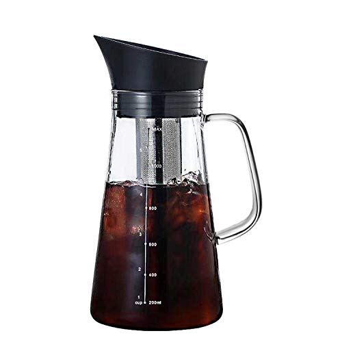 Lighten Life Cold Brew Coffee Maker,34oz/1L Iced Coffee Pitcher with Airtight Seal and Stainless Steel Removable Filter,Durable Glass Iced Coffee Maker Perfect for Homemade Coffee and Tea at Home