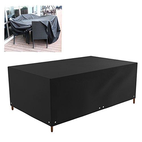 WINOMO Housse Bâche de Protection Meuble Table de Jardin Salon étanche Rectangulaire 213x132x74cm (Noir)