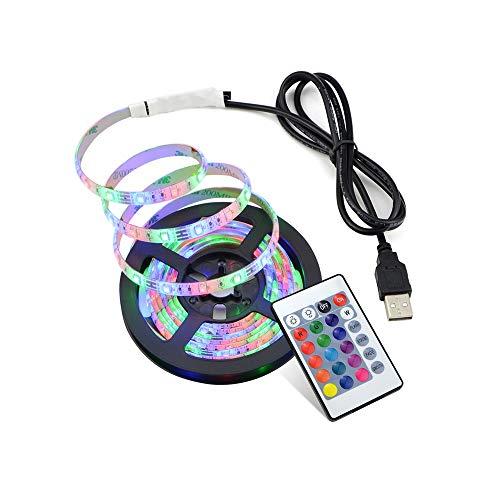 HVTKL DC 5V 2835 SMD RGB USB LED-licht strip lamp USB lader snoer tape TV RGB lichten aansteken Tira LED 5m HVTKL (Emitting Color : Not Waterproof, Wattage : 5M)