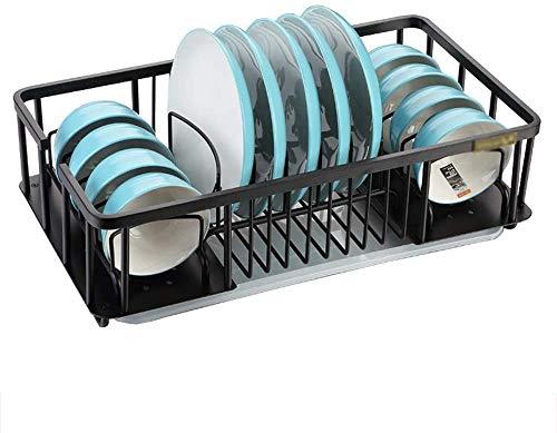 WIN&FACATORY Ruimte aluminium afvoerrek multifunctionele afvoerrek voor eetstokjes keuken plank In De Waterlade zwart | Ruimte aluminium 505 x 280 x 146mm A + (kleur: metallic grootte: zonder staaf