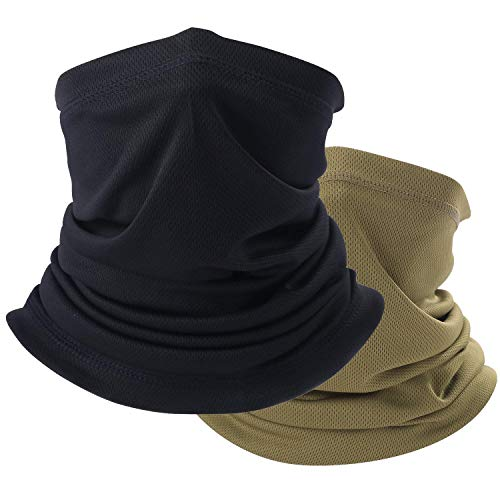 Summer Face Scarf Neck Gaiter Windproof Anti-dust Mask (Black, Brown)