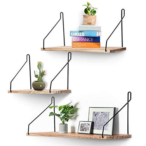 AGSIVO 3er Set Wandregal Schweberegal Hängeregal Dekorative Regale Eckregal CD Regal aus Holz, für Wohnzimmer, Schlafzimmer, Küche und Flur (Holzfarbe)