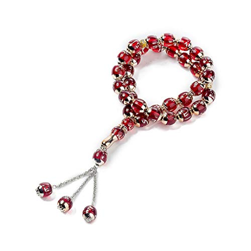 Perles de prière musulmanes rondes Youliy Tesbih Allah, utilisées pour le culte musulman Rouge