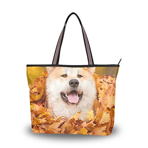 para mujeres, niñas, señoras, estudiante, bolso de mano, monedero, compras, bolsos de hombro, retrato de perro akita, acostado, hojas, bolsos, correa liviana