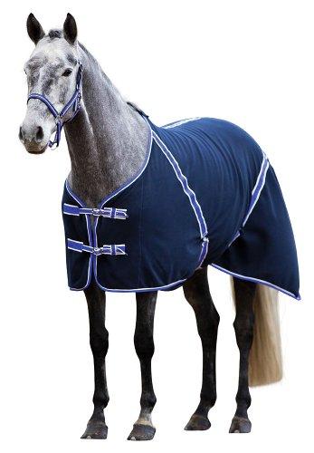 Kerbl 323637 Fleece-Pferdedecke Classic, 145 cm, schwarzblau / flieder eingefasst