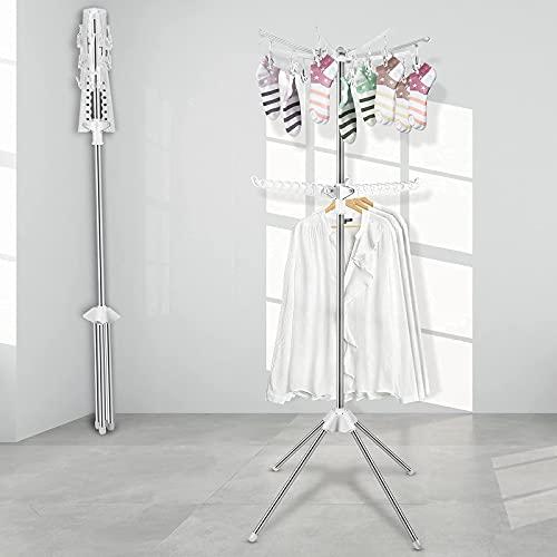 Innotic Tendedero plegables portátil de 2 pisos Rejilla de secado que ahorra espacio colgador ropa para interior (blanco)