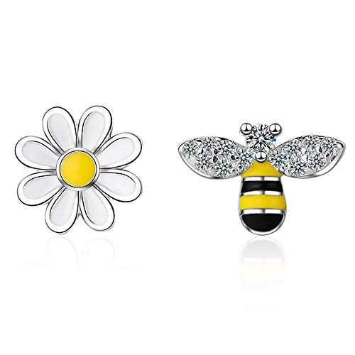 Tiny Mini Bee Daisy Flower Asymmetric 18K Gold Plated Stud Earrings for Women Teen Girls Kids Sensitive Ear Fashion CZ Animal Cute Piercing Post Hypoallergenic 2020