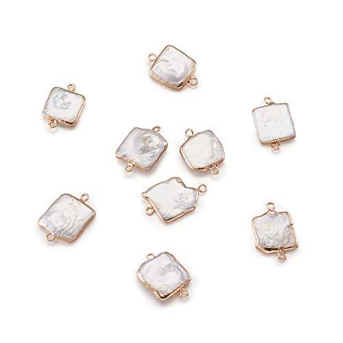 PandaHall - 10 connettori di perle d'acqua dolce naturali, 22 ~ 26 x 14 ~ 17 x 3 ~ 7 mm, con perline in ferro dorato per collane e bracciali, gioielli