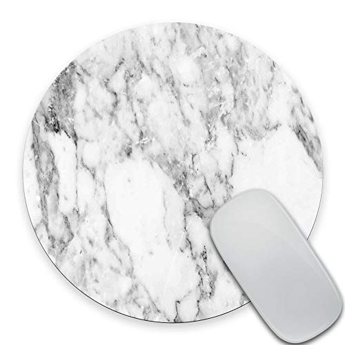 SSOIU White Marble Round Mouse Pad Cute Mat Grey Circular Mouse Pads 7.87X7.87 Inch (200mmX200mmX3mm)
