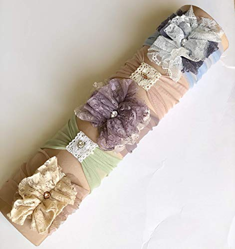 Chic Baby Headbands Set Made By Yasmine | Set Of 5 Unique Baby Headbands with Flowers, Crochet, Feathers and Rhinestones