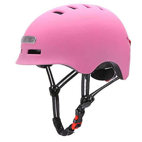 LANKOULI Helm Skaterhelm Damen Jungs Scooter Roller Herren Sport Helm für Männer Frauen Fahrradhelm Race Skate Nachtreitlichter und Warnlichter (Pink, M)