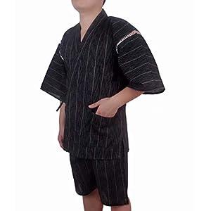 YIMANIE 甚平 メンズ 上下 2点セット しじら織り 作務衣 パジャマ 綿100% 和服 ゆったり 無地 ストライプ 和柄 ルームウェア 夏祭り じんべい 男性用 15カラー展開 M/L/LL