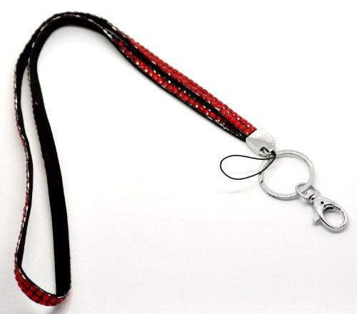 CKB Ltd 1x Bling ID Red Rot Schlüsselband mit Strass bunt Acryl Rhinestone Stil Lanyard Band Halsband Swivel Metal Clip mit Karabinerhaken Schlaufe und Schlüsselring