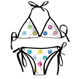Conjuntos de Bikini para Mujer Impresos Modelo de Lunar Azul, Traje de baño de la Playa del Traje de baño del triángulo