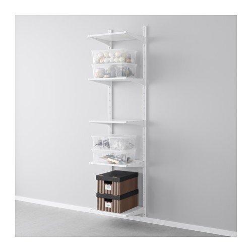 Ikea ALGOT Wandschiene/Böden Aufbewahrungssystem; in weiß; 17tlg; (46x41x197cm)