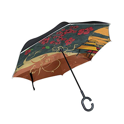 Double Layer Inverted Umbrella Winddichte Regensonnen-Regenschirme mit C-förmigem Griff - Blume und Pavillon