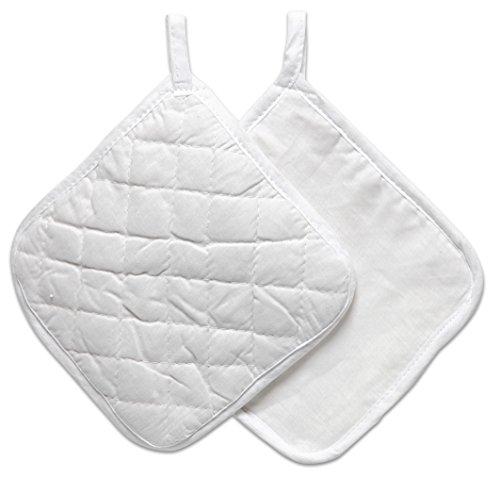 Creativ Company 444601 Potholder 4tlg. weiß Baumwolle Topflappen und Ofenhandschuh