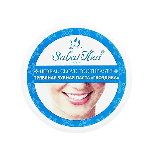 SABAI THAI Natürliche Kräuter- Nelke-Zahnpasta Fluoridfrei, Komplette Pflege und Schutz, Basische Zahnpasta