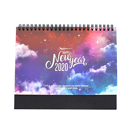 2020 Dreamy Colorful Standing Desktop Calendar Coil Paper Calendar Memo Daily Schedule Table Flip Planner Yearly Agenda Organizer,Double-Sided,Premium Paper