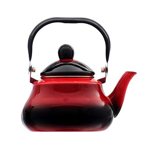 Teteras esmaltadas, Tetera para inducción en la estufa, Tetera para servir de esmalte sobre acero con mango de acero inoxidable, Tetera grande de porcelana roja, 2.0L