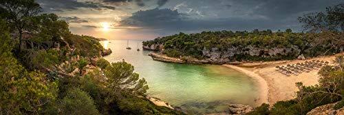Voss Fine Art Fotography Lienzo .Isla de Mallorca con playa y haya, Cala Llombards al amanecer Lienzo panorámico sobre bastidor como lienzo