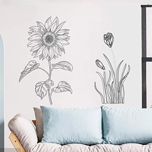 CSCZL Boceto girasol decoración del hogar pegatinas de pared para dormitorio sala de estar sofá decoración de pared calcomanías de vinilo para pared DIY arte murales papel tapiz de PVC