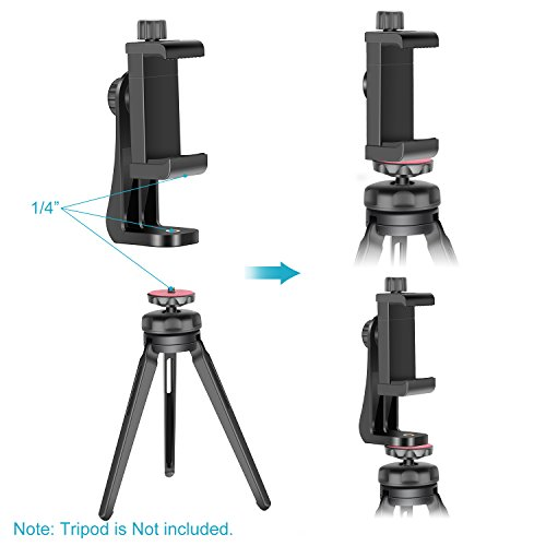 Neewer Smartphone Holder Vertical Bracket with 1/4-inch Tripod Mount - Phone Clip Tripod Adapter Compatible with 13/13 Pro/13 Pro Max/13 Mini/12/11 Pro Max/X/XR, Galaxy S20+/S20, Huawei P40 Pro, etc.