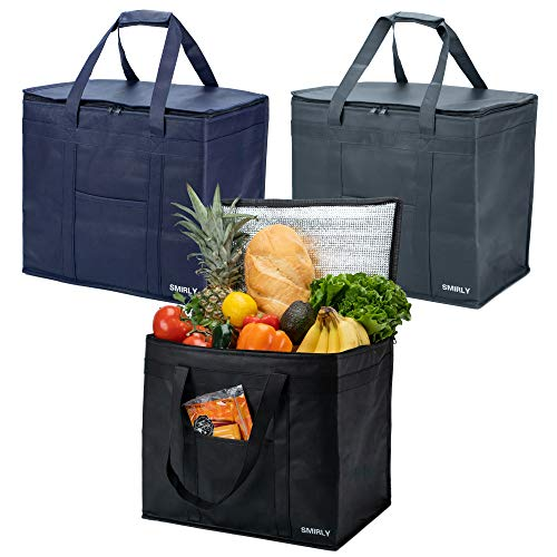 Smirly Insulated Reusable Grocery Bags: 3 Pack of Heavy Duty