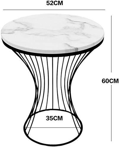 Tavolino da caffè, in marmo da pavimento, tavolino da pavimento, tavolino ad angolo, tavolino rotondo, comodino, comodino a due piani, finitura e ripostiglio., Black+white- 1 story