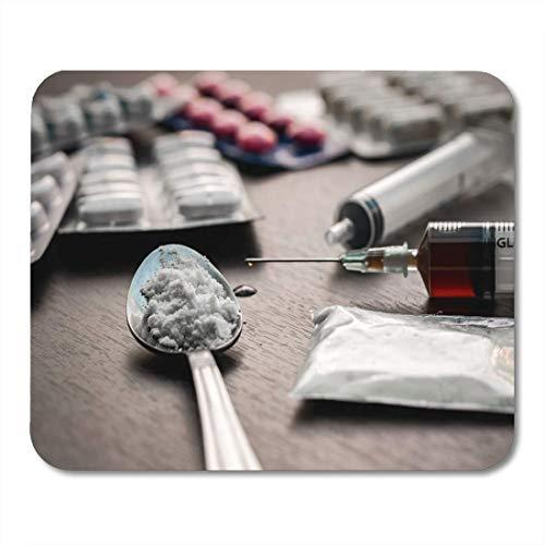 Gaming Matte,Verwenden Sie Addict Drug Spritze Und Gekochtes Heroin Auf Löffel Attraktive Dekorative Rutschfeste Gaming-Mousepads,18*22cm