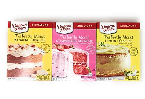 Duncan Hines Cake Mix Bundle - Perfectly Moist Banana Supreme, Strawberry Supreme, Lemon Supreme 15.25