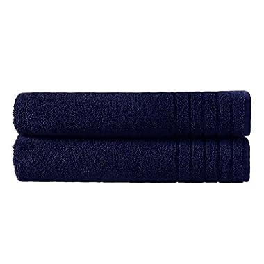 Cotton Craft - Super Zero Twist 2 Piece Oversized Bath Sheet Set 35x70 - Navy - 7 Star Hotel Collection Beyond Luxury Softer Than A Cloud - 100% Pure Super Zero Twist Cotton