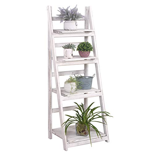 """RHF 45"""" Foldable Ladder Shelf,Plant Stand,Indoor Flower Pot Stand,Folding A Framde Display Shelf,Free Standing, Patio Rustic Wood Stand with Shelves,4 Tier Stand Outdoor Pot Rack, White"""