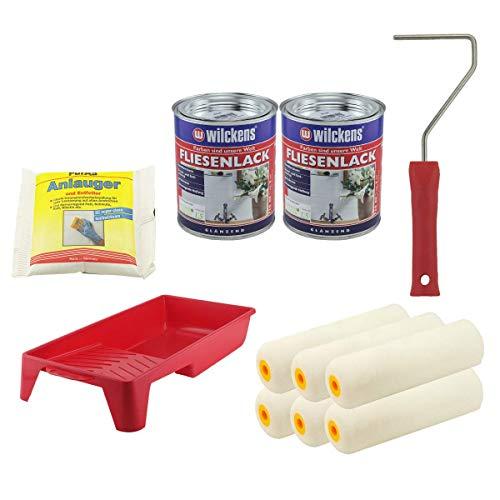 Set 2x Fliesenlack 0,75 Liter (weiß) mit 1x Anlauger und Entfetter Pulver 100 Gramm + Farbroller + Farbwanne + 6x Walze