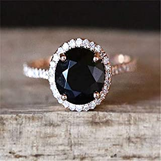 Nutchanan Classic Black Stone Rings for Women Wedding Engagement Ring Gift Crystal Ring Rose Gold Luxury