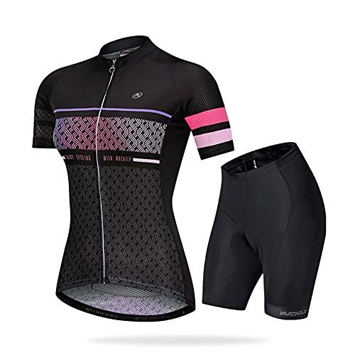 Ciclismo Maillot + Pantalones Cortos Mangas Cortas de Ciclismo Conjunto Ropa Equipacion, 3D Gel Acolchado Transpirable Verano para Deportes al Aire Libre Ciclo Bicicleta