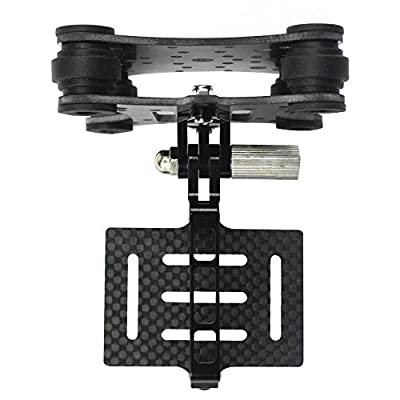 QWinOut FPV Gimbal Camera Mounts with Anti Vibration Plate Compatible with DJI Phantom Quadcopter Multicopter, Carbon Fiber Shock Absorber Damping PTZ Compatible with Gopro Hero 2 3 + 4 by QWinOut