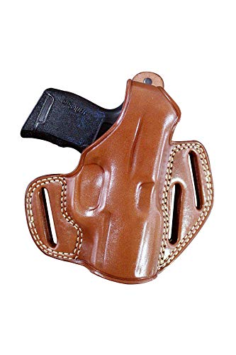 MASC Premium Leather OWB Three Slot Pancake Holster with Thumb Break, Springfield Hellcat 9mm 3'' BBL, Right Hand Draw, Brown Color #1524#