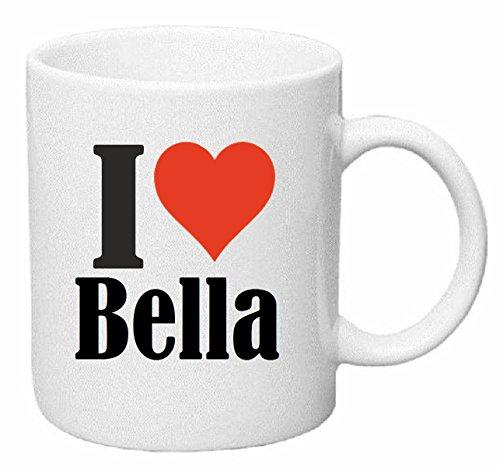 Koffie MokIk hou van BELLA Thee Beker. Keramisch - Hoogte: 9 cm - Diameter: 8 cm - Inhoud: 330ml het ideale geschenk voor werkgroepen, partner of zelfs uzelf