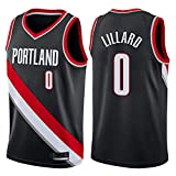 Egdu Camisetas de Baloncesto, 3 Estilos Portland Trail Blazers # 0 Camiseta de Damian Lillard Tejido Fresco y Transpirable Chaleco sin Mangas para Fan de Baloncesto Unisex,Negro,XL