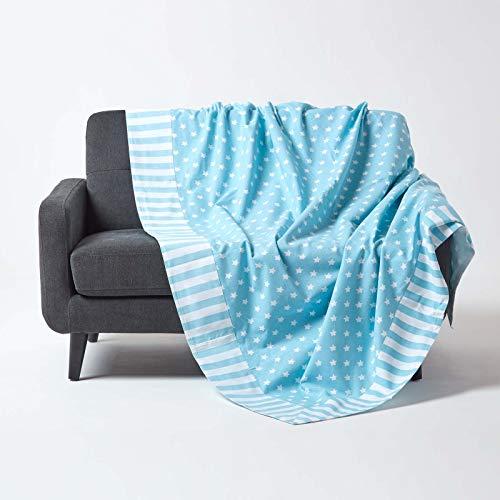 HOMESCAPES Funda de sofà/Manta Color Azul con Estrellas 150x200 cm