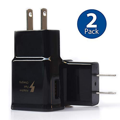 Adaptive Fast Charger kit Compatible Samsung Galaxy S10 / S10+ / S10e / S9 / S8 / Plus/Edge/Active/Note 8 / Note 9, Wall Plug Power Adapter with USB Type C Cable Cord (2 Pack)