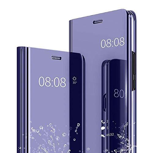Finemoco Funda para Samsung Galaxy A20s Funda,Espejo Carcasa Galaxy A20s Funda con Tapa,Efecto Espejo,Transparente,Soporte Plegable Flip Case 360 Grados Protección Mirror Inteligente Funda,Púrpura
