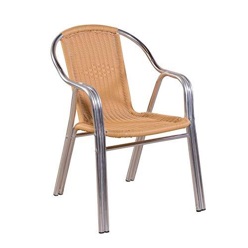 MACOShopde by MACO Möbel 10er Set Aluminium Doppelrohr Stapelstühle, Gewerbetauglich, Poly-Rattanbespannung Gartenstuhl Silber/Beige bis 150 kg