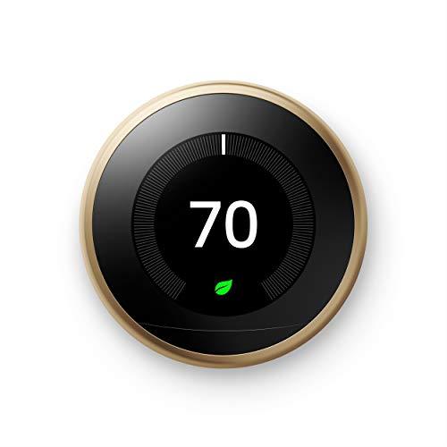Google Nest - Termostato Inteligente programable para el hogar - Termostato Nido de Tercera generación - Funciona con Alexa - Latón